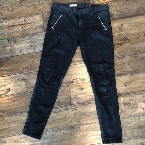 AG black moto zip jeans skinny leggings